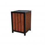 Kosz na śmieci stalowy drewniany Benek